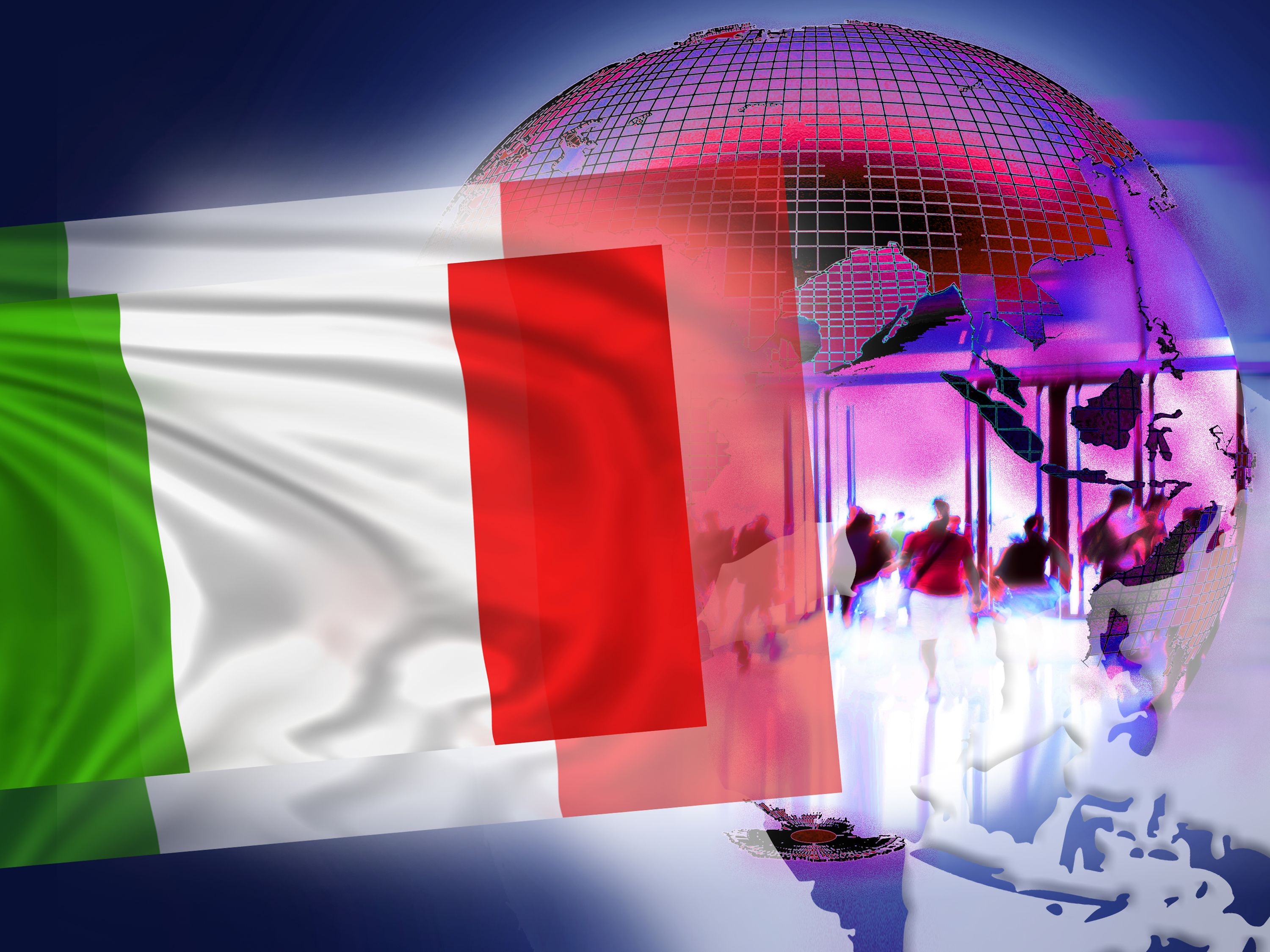 Illustration for NatCo in Italy with country flag.