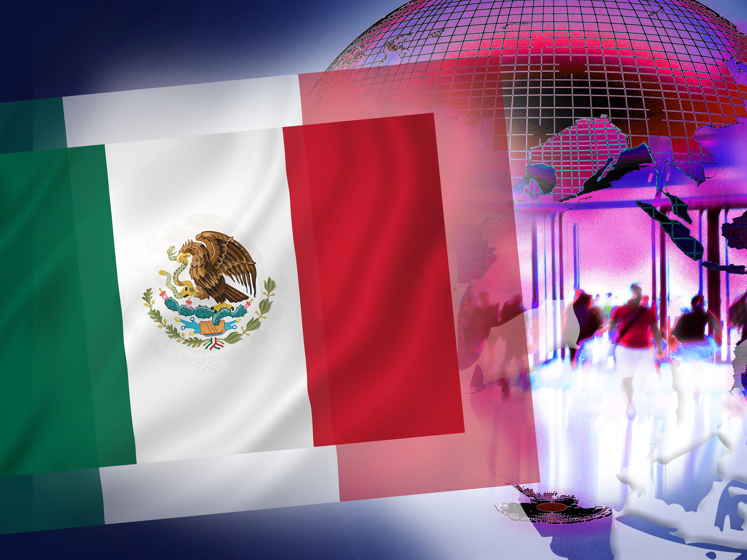 Illustration for NatCo in Mexico with country flag.