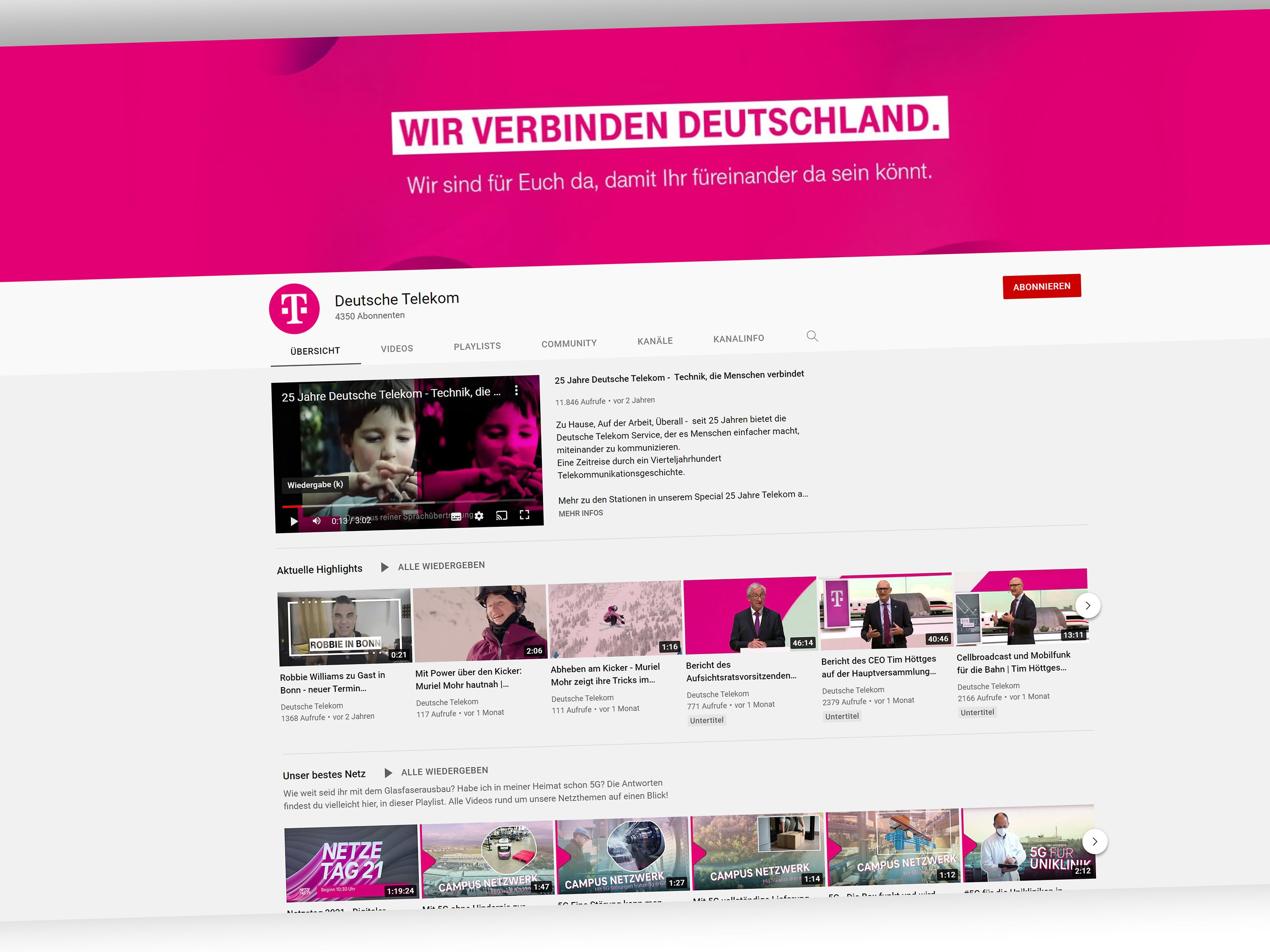 you tube Kanäle Deutsche Telekom