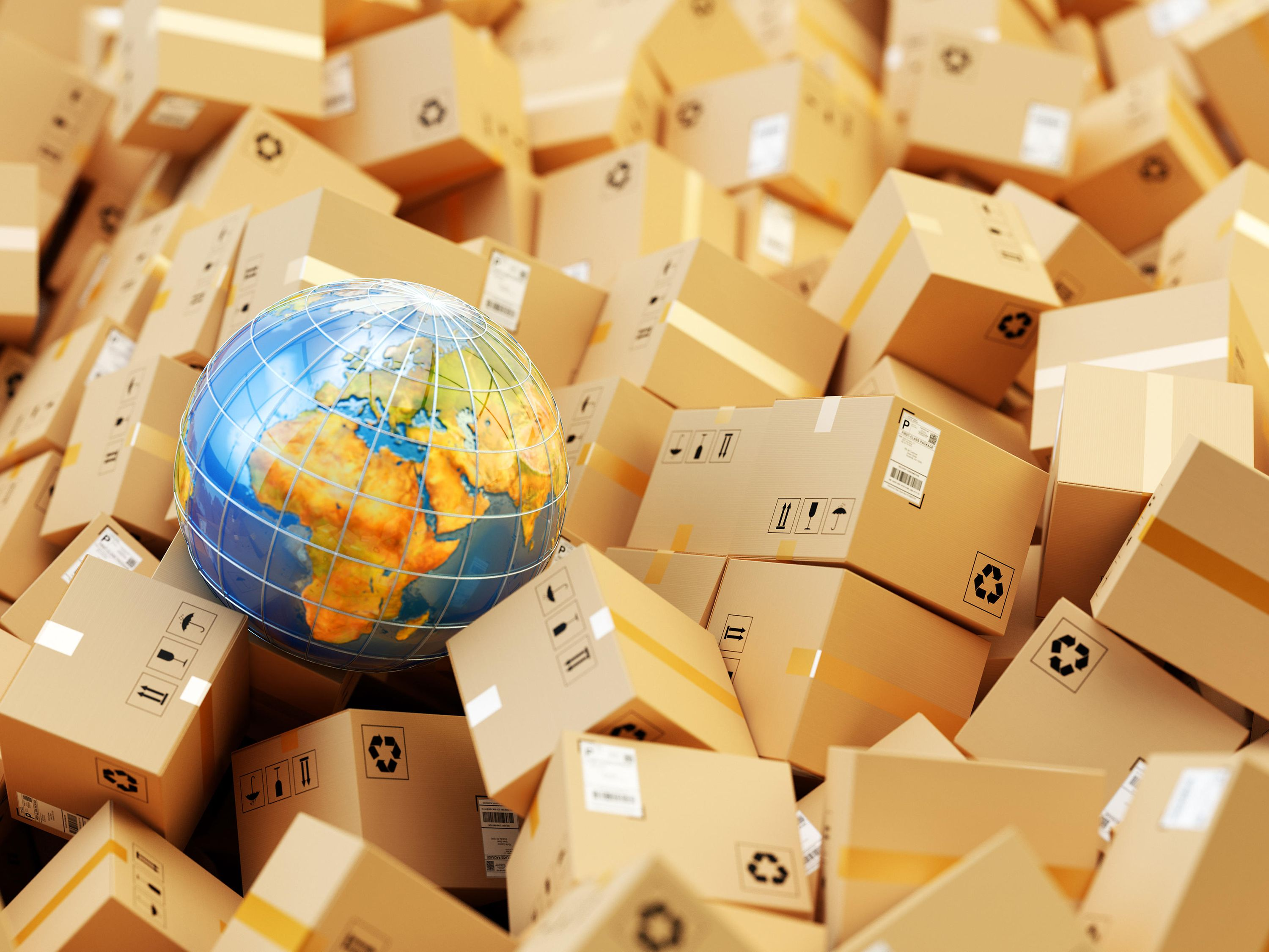 A globe in between a bunch of parcels