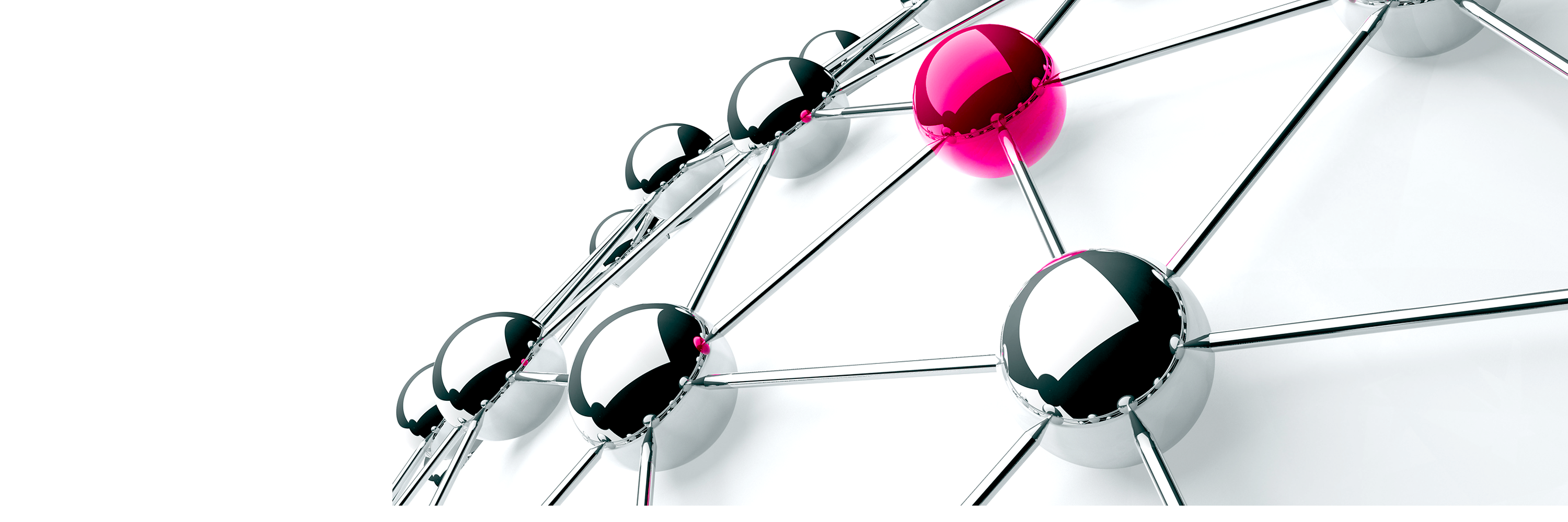 A composition of several connected silver balls and one magenta ball.
