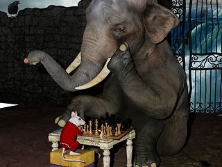 An elefant and a mouse playing chess