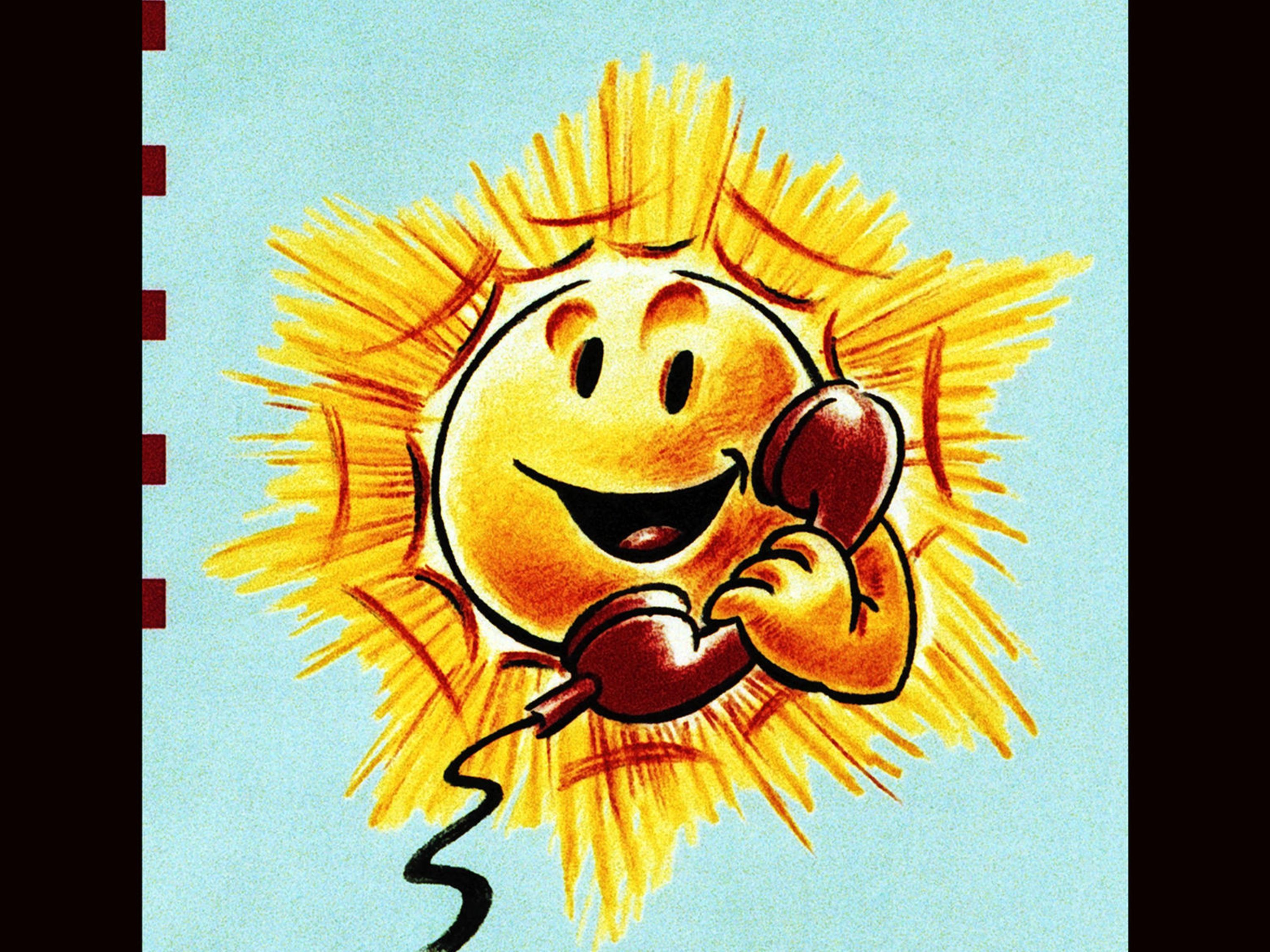 The information sheet for the 1996 rates, with a smiling sun with a telephone.