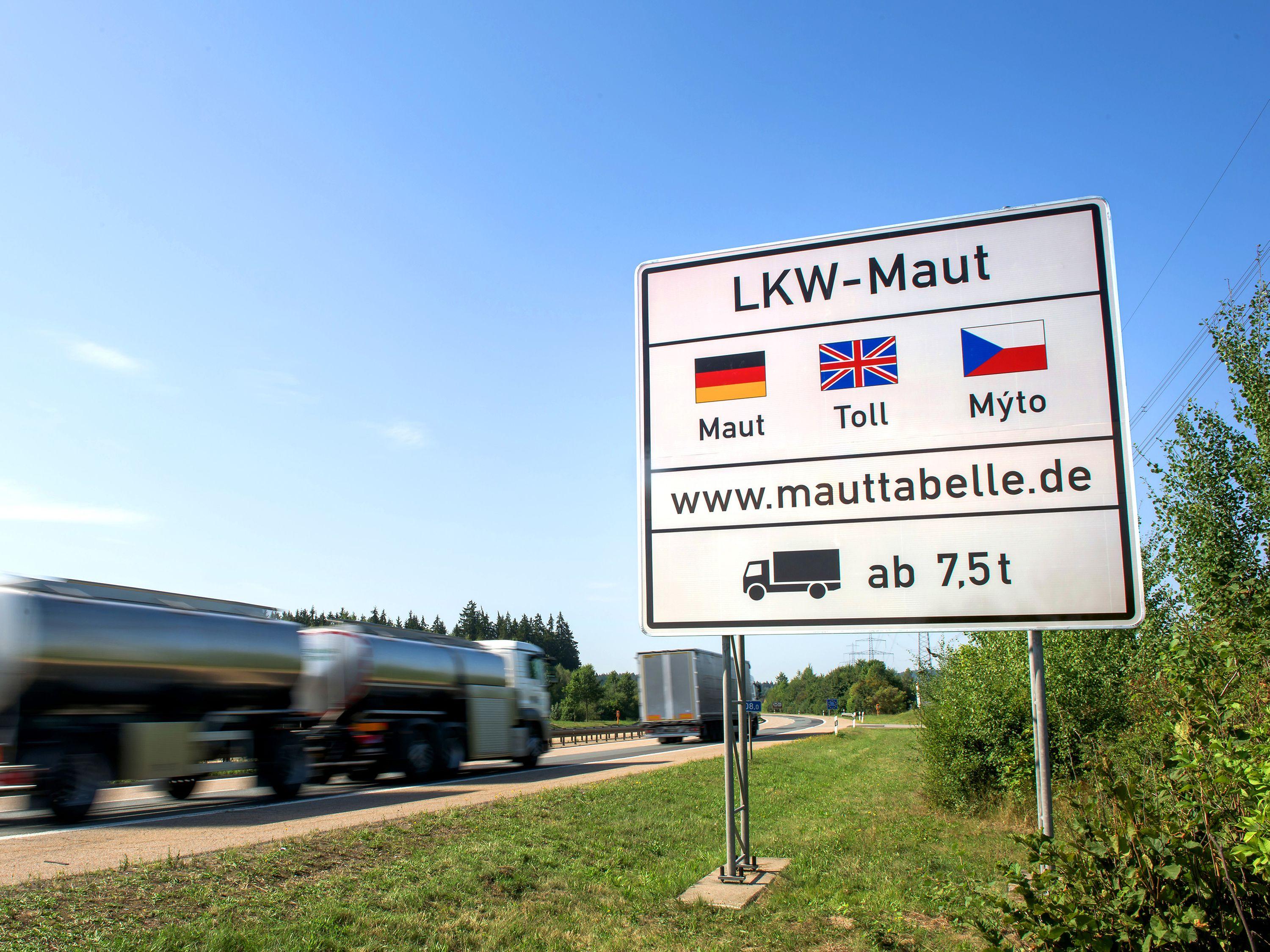 Truck-toll sign on an autobahn