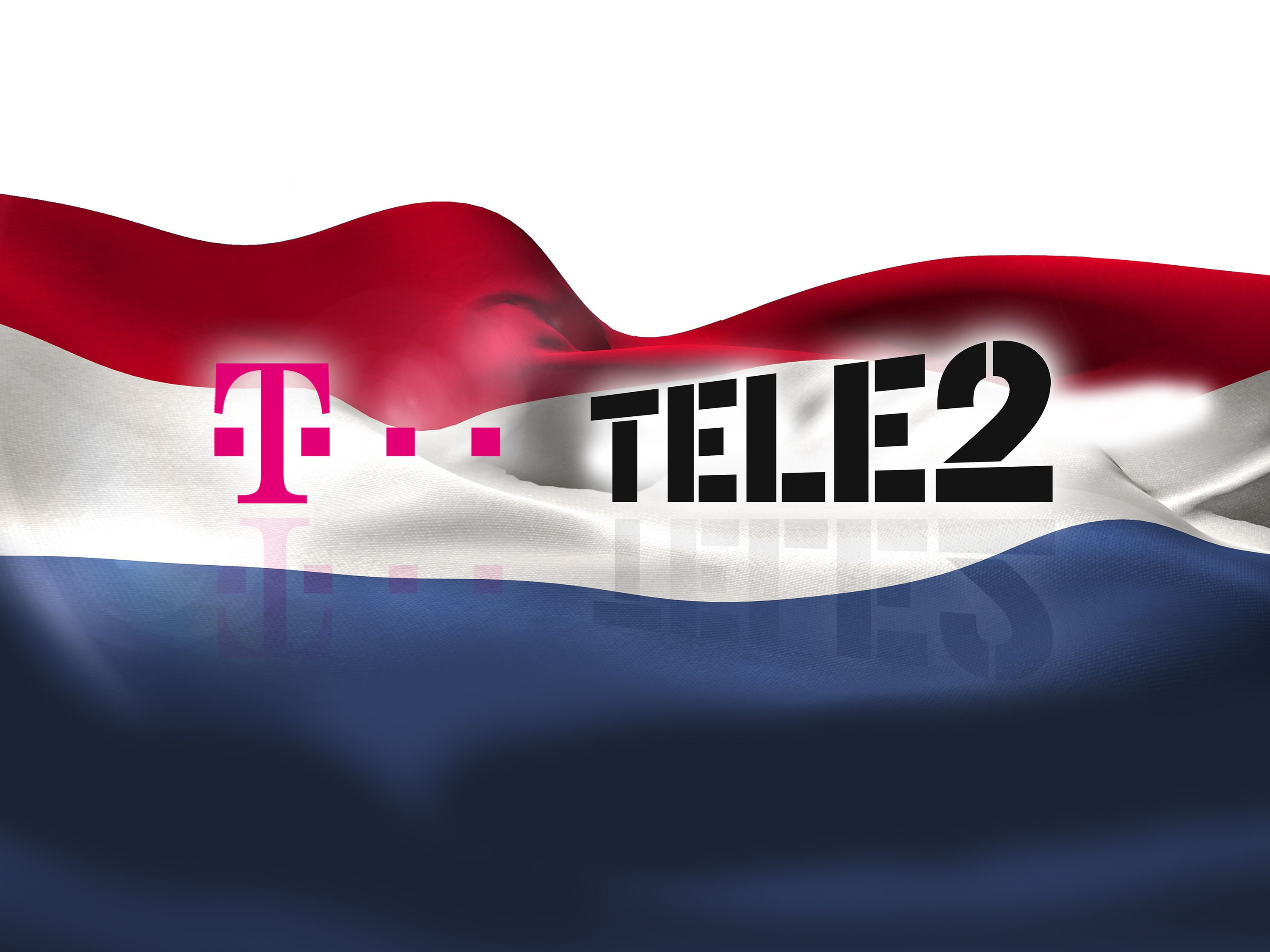 Logos of Deutsche Telekom and Tele2 NL in front of a Dutch flag.