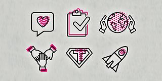Six graphic symbols represent the corporate values ​​of the Telekom.