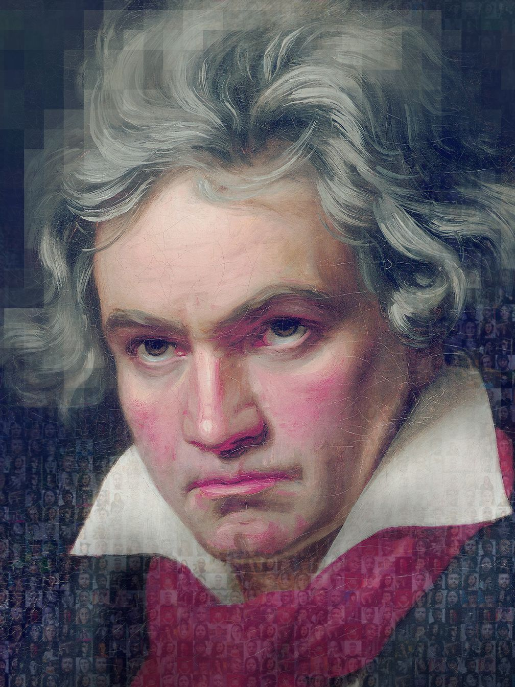 Beethoven portrait composed of many small pictures.