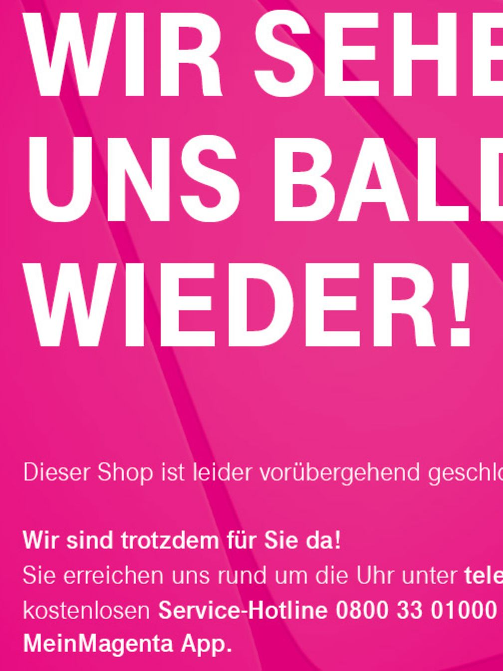 Information sign for customers at the Telekom Shops.