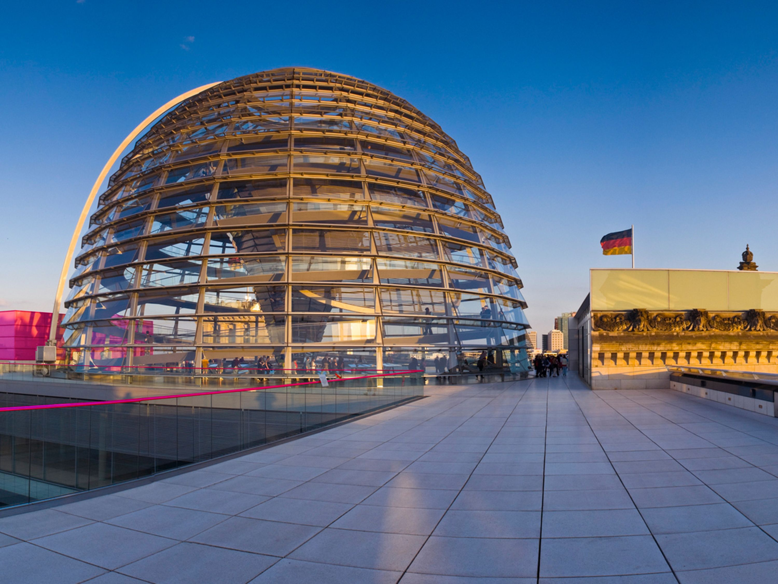 Roof terrace and dome of the Reichstag building in Berlin.