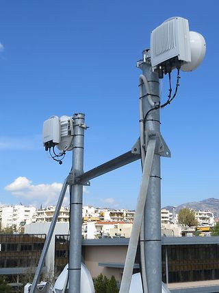 Antennas at Deutsche Telekom's Mobile Backhaul Service Center at Cosmote in Athens.
