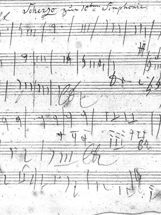 Original sketch of Beethoven on the Scherzo theme in the third movement of the 10th Symphony.