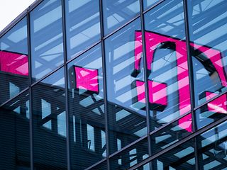 Reflection of Deutsche Telekom logo on the roof